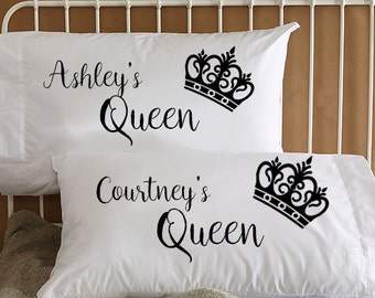 Lesbian Couple Pillow Cases ~ Queen and Queen ~ Microfiber Pillowcases ~ Custom Pillowcases ~ Pillow Cases for Wedding Anniversary Birthday