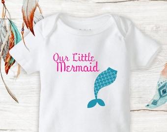 Our Little Mermaid with Tail Onesies baby girl mermaid Baby Shower Gift Newborn
