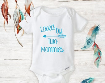 1a442351e Baby Girl Unisex Loved By Two Mommies Onesies Lesbian Moms LGBT Baby Shower  Gift Ideas Newborn Baby Stuff Infant Cute Baby Outfits New Baby
