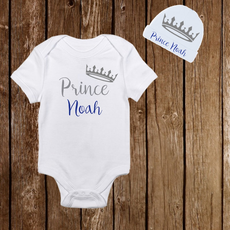 06e2b9fb9 Prince with Crown Personalized Name Onesie with Hat - Cute Baby Boy clothes  newborn onesie - Birthday Baby Shower Gift - Newborn Infant