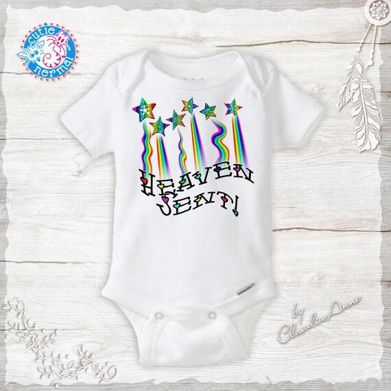 Heaven Sent Unisex Onesies Rainbow Baby Cute baby girl  ad0e554b3