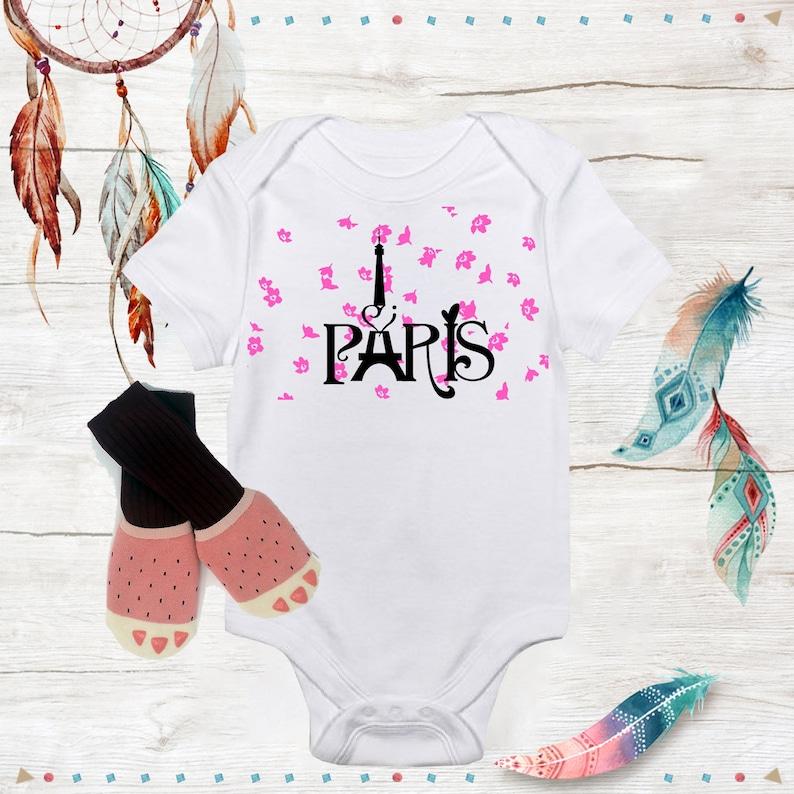 e0ba50d8207b Unique Paris Onesie Cute Baby Girl clothes with pink socks | Etsy