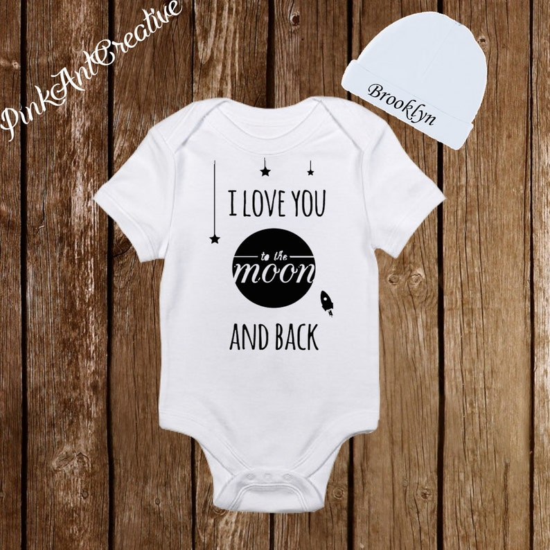 50d0e9a95 Love you to the moon and Back Onesies Personalized Hat Cute