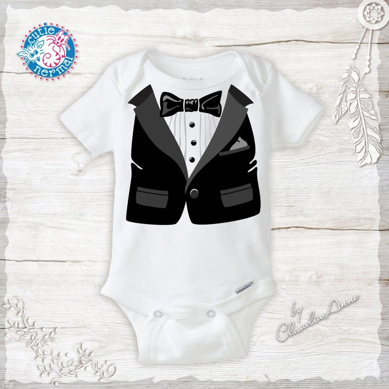 d34e2a2fb Baby Boy Tuxedo Bow tie and vest Organic Baby Onesie with