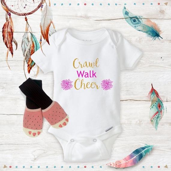 Cheerleading Baby /& Infant T-Shirts Crawl Walk Cheer Colors /& Sizes