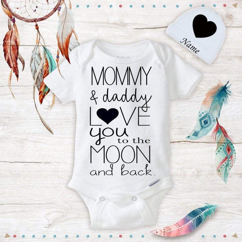 d5f0ed07a Organic Baby Mommy and Daddy love you to the moon and back | Etsy