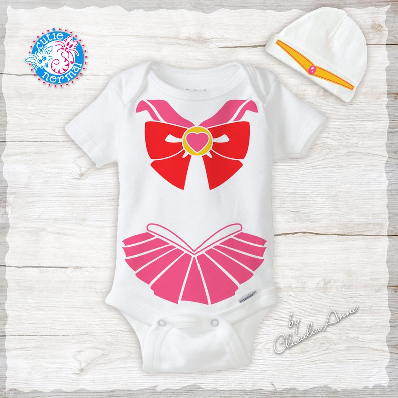 41f63d63a Sailor Moon Rini with Pink Bow Organic Baby Onesie Hat Costume