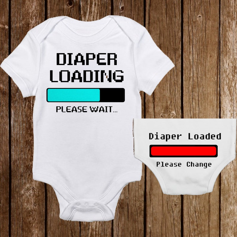 e3ce1e699 Funny Diaper Loading with Bottom Unisex Baby Onesies Baby | Etsy