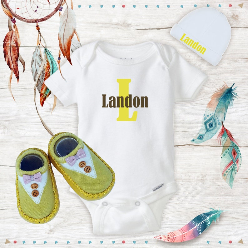 Yellow /& Brown Personalized Name Onesies with Hat and Yellow Bow tie Shoes Baby boy clothes newborn Baby Shower Gift Set Hospital Outfit