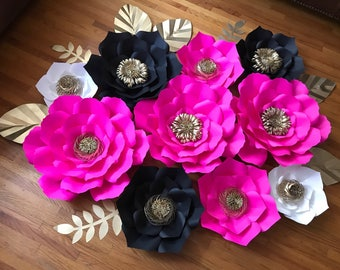 10pcs Kate Spade Inspired Paper Flowers, Birthday Backdrop, Bridal Decor, Wedding Decor