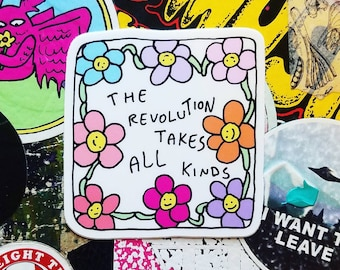 The Revolution Takes All Kinds Flower Power Sticker