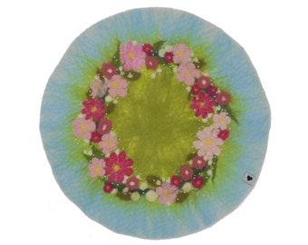 Seat rest flower wreath, made of fine merino wool, hand felted, 40 cm diameter