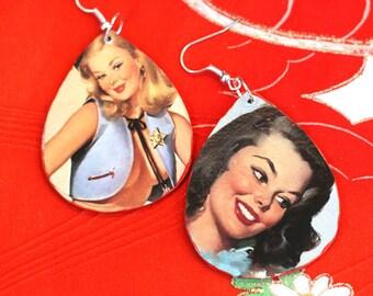 Pinup chi chi earrings - retro, fabulous, teardrop, wooden earrings, orange edging, Gil Elvgren faces