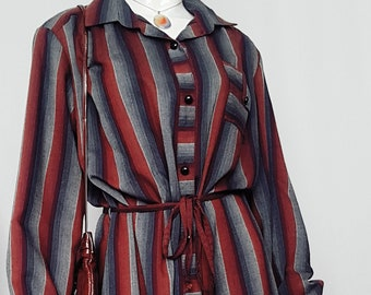 Vintage 70's David Keys Striped Cotton Mid Length Shirt Dress w Full Sleeves and Tie Belt