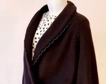 Vtg 80s Gitane Black Soft Pure Wool Double Breasted Cardigan w Velvet Trims Bishop Sleeves, Wide Waist Band & Velvet Buttons