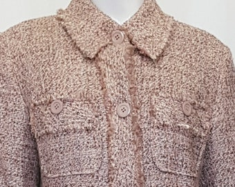 a9e8d95f2444 Vintage 90 s PABLO by GERARD DAREL Paris - Musk Pink Bouclé Tweed Suit with  Raw Brushed Edge Details and Trims