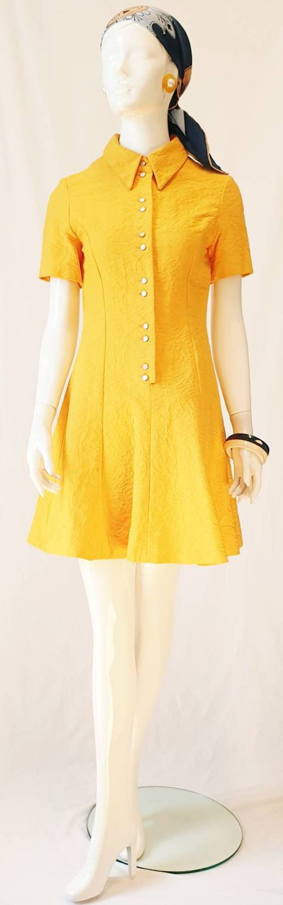 Vtg 60s Norma Tullo Couture Sunflower Yellow Cotto