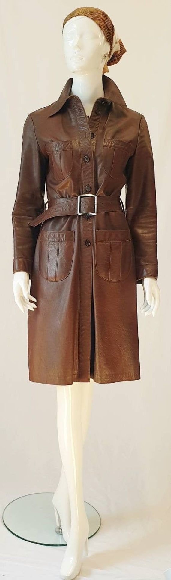 Vtg 70s Merivale Fitted Rich Chocolate Brown Leath