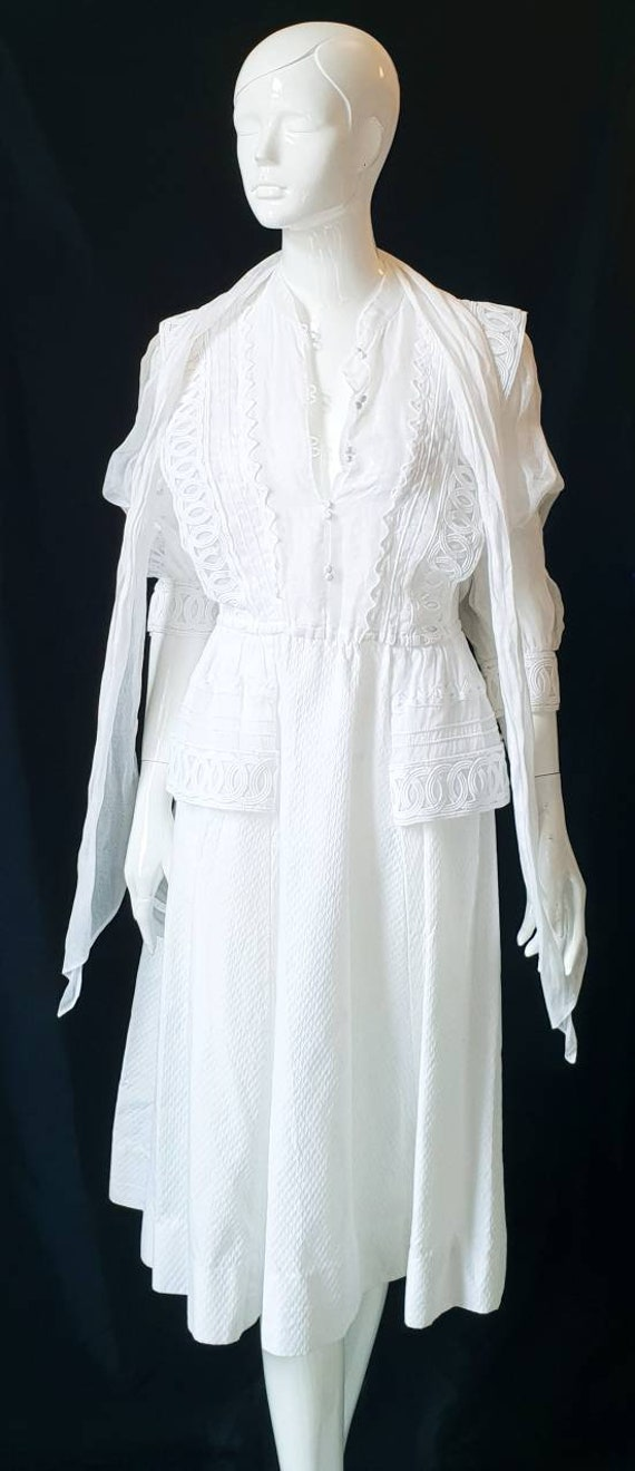Vtg 70s PRUE ACTON White Finest Swiss Cotton, Org… - image 9