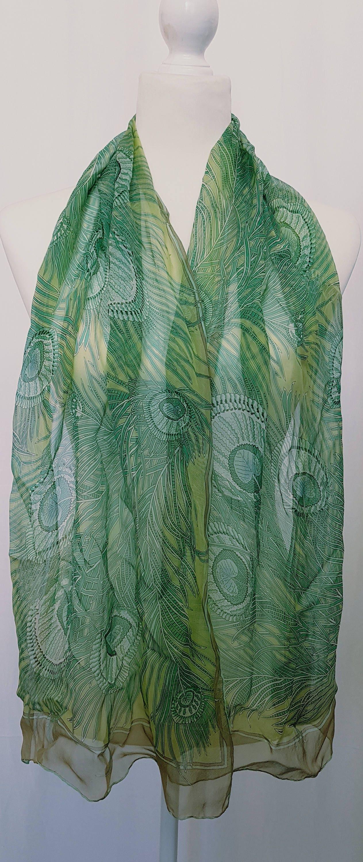 b66fb0ae4f63f Vintage 90's LIBERTY LONDON 'HERA' Design Silk Chiffon Long Print Scarf-  Soft Green and Gold Tones