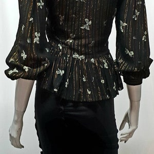 Vintage 1940s Women\u2019s Black Crepe Peplum Sequin Short Sleeve Top by Franklin Simon wRetro-Feathered Brooch in Burgundy and Black