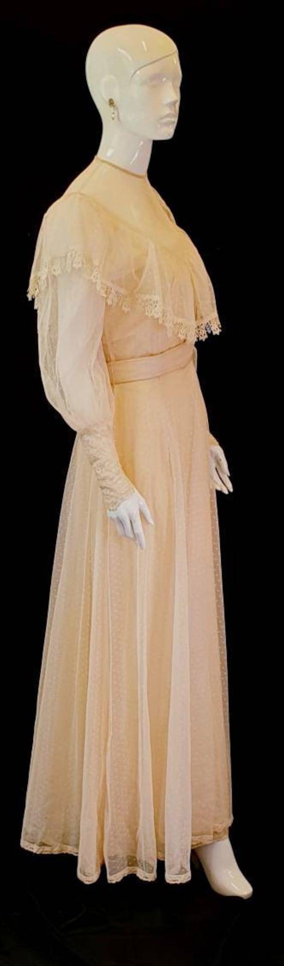 Vtg 30s Blush Pink Fine Tulle w Antique Lace Roman