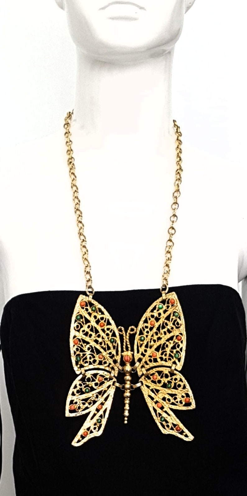 Vintage 60\u2019s DEC JULIANA Delizza Elster Italy Huge Gold \u2018Swinging\u2019 BUTTERFLY Statement Pendant Necklace w Turquoise /& Red Coral Stones