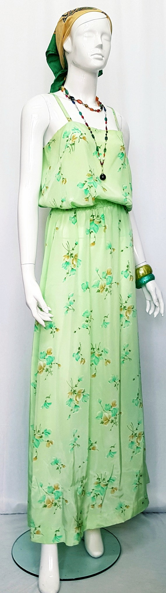 Vintage 30's Soft Flowing Mint Green Rose Print S… - image 4