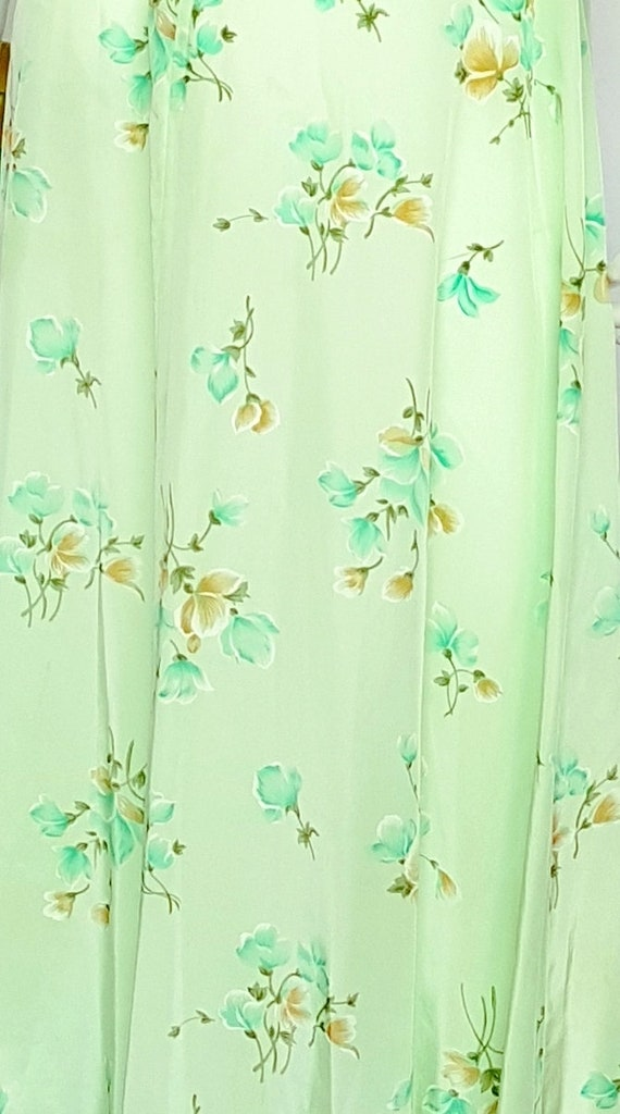 Vintage 30's Soft Flowing Mint Green Rose Print S… - image 5