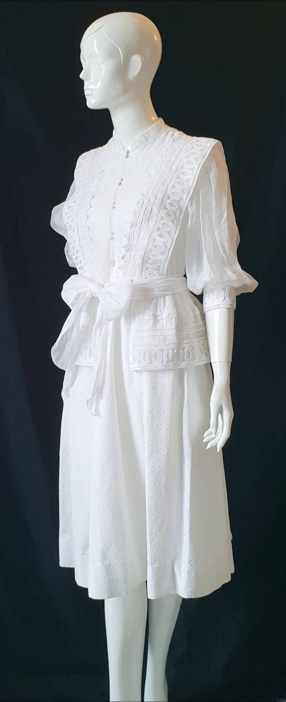 Vtg 70s PRUE ACTON White Finest Swiss Cotton, Org… - image 5