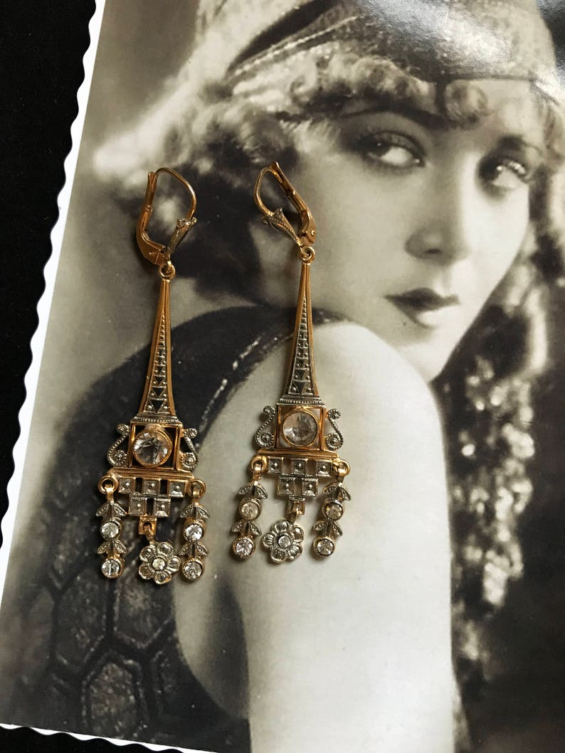 Miss Fisher French Art Deco Antic Vintage earrings diamant\u00e9 flourished Tour Eiffel Paris Roaring 20s Flapper