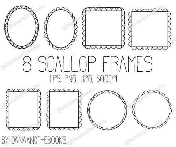 Scallop Frames Digital png jpg eps Clipart vector Instant | Etsy