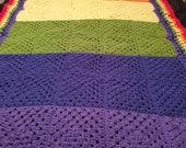 Afghan crochet blanket bedspread vintage retro shabby chic bohemian 70 39 s rustic country decor LGBT bedroom throw single bed home decor Boho