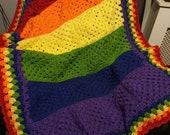 Afghan crochet blanket LGBT vintage throw shabby chic bohemian 70 39 s retro artasian rainbow colours rustic country style home decor lap blank