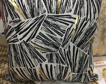 """Gold Foil pine Pillow -18""""/Decorative Pillow/ Linen Housewares/ Accent Pillow/ Gifts/ Seasonal Pillow"""