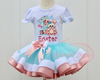 1st Easter girls outfit Bunny girls smash cake outfit bunny face flutter sleeve leotard first Easter girls bunny pettiskirt outfit