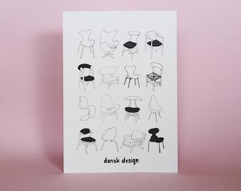 Danish Scandinavian Design illustration  |Limited Edition 100 Scandi Danish chairs Furniture sketch wall art Chair Pattern Jacobsen Wegner