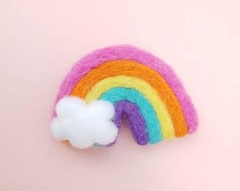 Playroom accessory Nursery accessory Felt ball garland Rainbow decor Rainbow Bedroom Felted rainbows