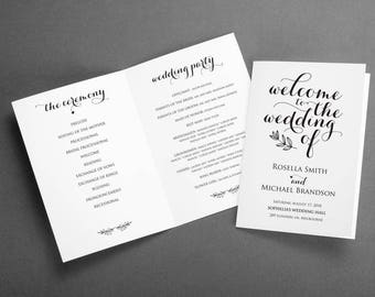 folded wedding program template folded wedding programs etsy