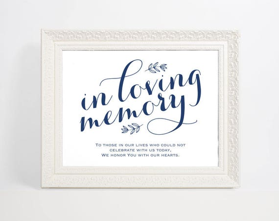 Navy Blue In Loving Memory Sign, Wedding Sign, In Memory Sign, Memory Sign, Wedding Printable, Memorial Table Sign, WPC_903