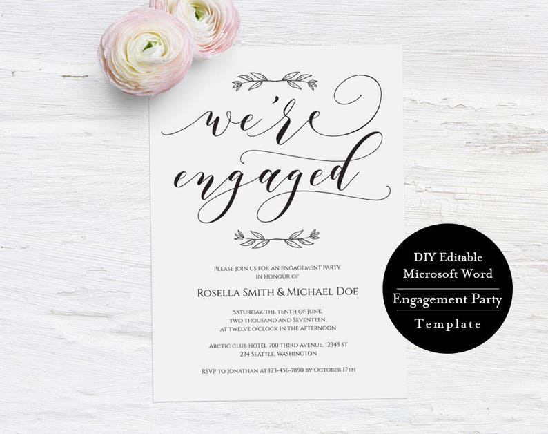 Printable Engagement Invitation Template Were Engaged Calligraphy Wedding Party DIY EngagementMSW230
