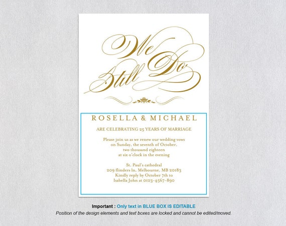Invitation For Renewal Of Wedding Vows: Gold We Still Do, Vow Renewal, Wedding Anniversary, Renew