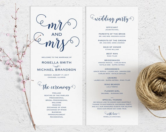 Navy Blue Wedding Program Template Ceremony