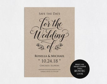 Save the Date Template, Save the Date Cards, Save the Date Printable, Rustic Save The Date, Wedding Template, PDF Template, WPC_627