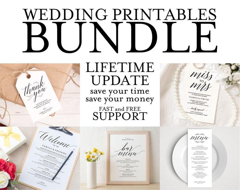 Wedding Invitation Template Program Sign Rehearsal Dinner Seating Chart Menu Bridal Shower SD1A