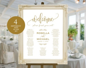 Gold Wedding seating chart, welcome, Seating Chart Template, engagement seating chart, Seating Board, Find your seat sign, WPC_486