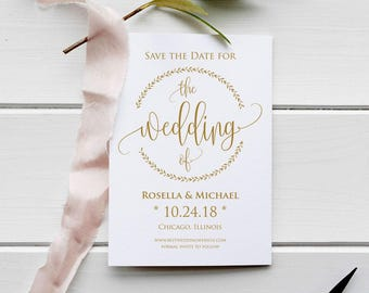Gold Save the Date Template, Save the Date Cards, Save the Date Printable, Rustic Save The Date, Wedding Template, PDF Template, WPC_644