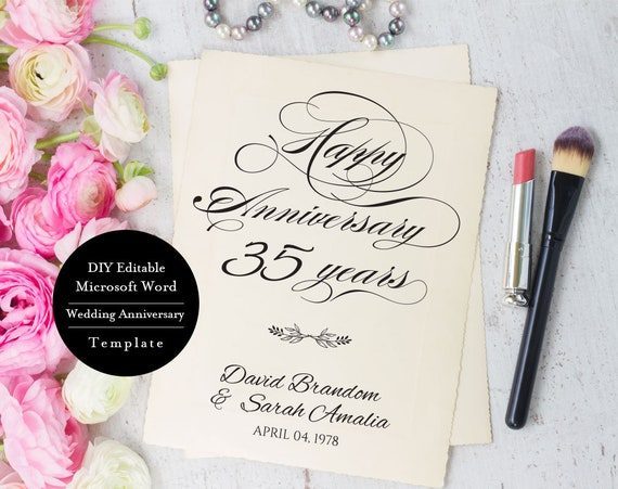 35th Anniversary Invitation Diy Anniversary Party Etsy