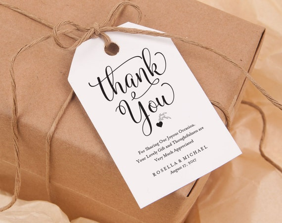 thank you tag gift tags wedding thank you tags wedding etsy