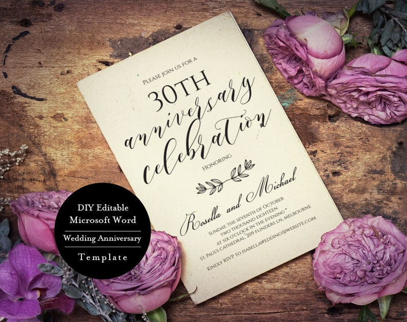 MSW407 Editable Word Anniversary Party Invitation DIY Instant Download 30th Anniversary invitation Editable Anniversary Invitation